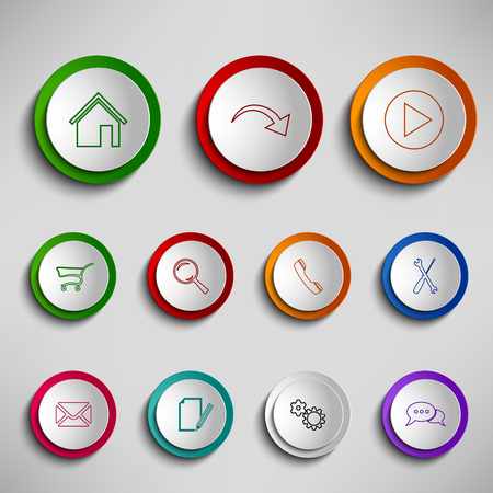 Round color buttons icons design template vector  矢量图像