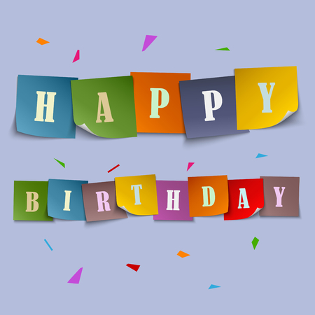 birthday cards: Happy Birthday card with colored stickers template vector eps 10