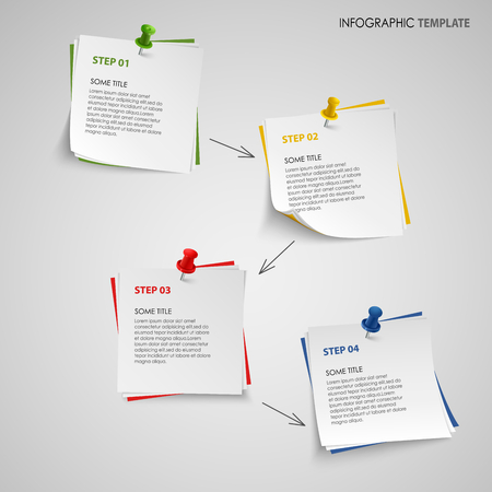 Info graphic with note paper template vector eps 10