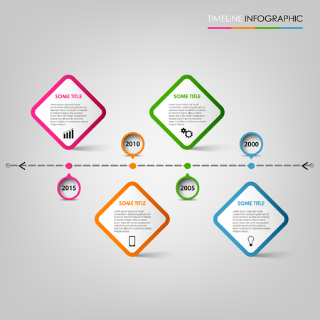 time line: Time line info graphic with colored pointers design element vector