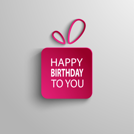 decoration    design: Birthday card with pink gift background vector eps 10