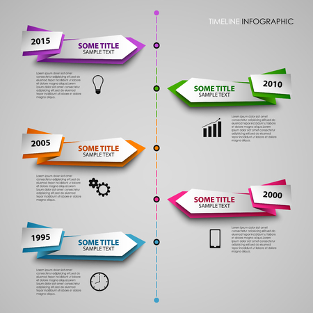 time line: Time line info graphic with colored folded pointers template vector eps 10 Illustration