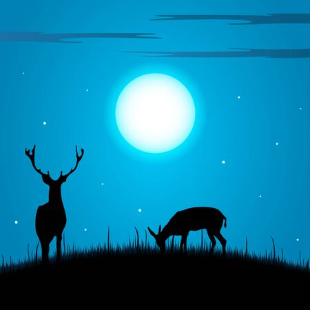 doe: Deer and doe during the full moon background vector eps 10
