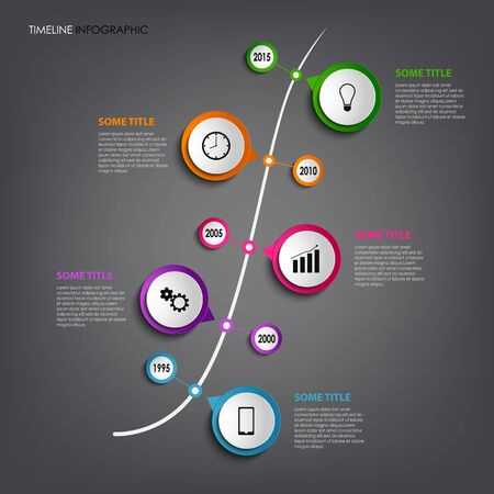 time line: Time line info graphic with colored rounds design template  Illustration