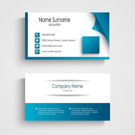 presentation card: Business card modern blue and white template vector eps 10 Illustration