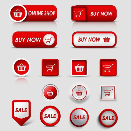 atypical: Collection web red buttons and pointers for shopping vector eps 10