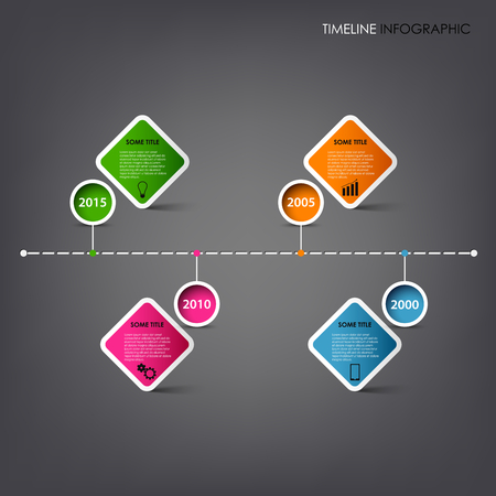 time line: Time line info graphic with square design element template vector eps 10 Illustration