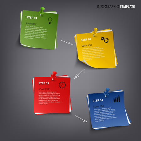atypical: Info graphic with colored note paper template vector eps 10