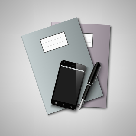 annotation: Notebooks with pen and smart phone background vector eps 10
