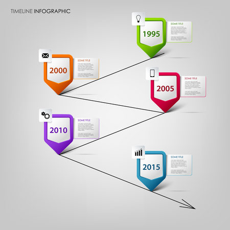 time line: Time line info graphic with colored design pointers template vector eps 10