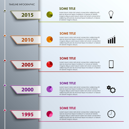 info graphic: Time line info graphic with colored tabs design template vector eps 10