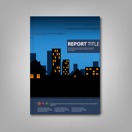lighted: Brochure book with night lighted city template vector eps 10