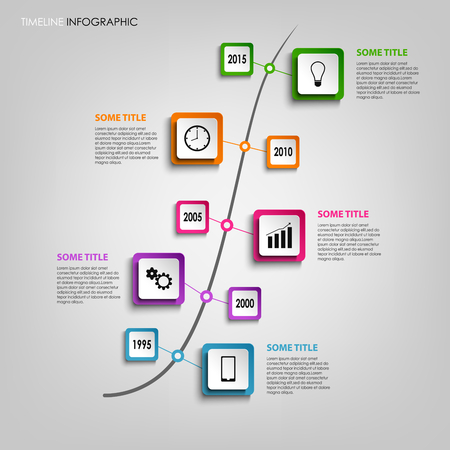 time line: Time line info graphic with colored squares design template vector