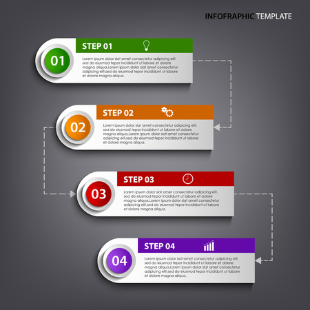 atypical: Info graphic with colorful tags labels design template vector eps 10