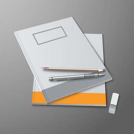utiles escolares: Cuadernos de escuela con los l�pices y goma de borrar plantilla vector eps 10 Vectores