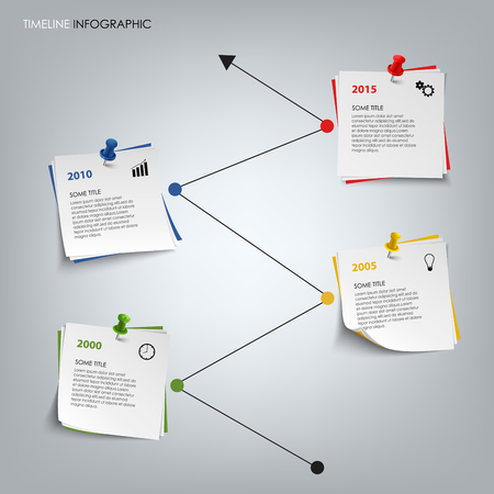 vision: Time line info graphic with colored note paper template vector eps 10 Illustration
