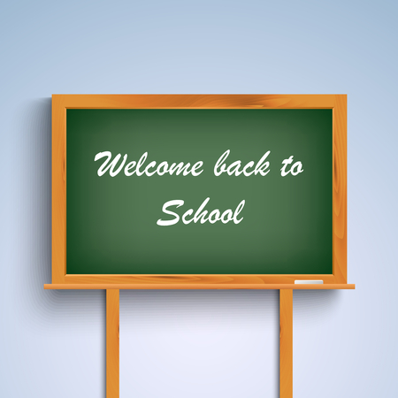 school supplies: Back to school on green board template vector eps 10