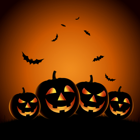 Halloween night background with pumpkins template vector eps 10