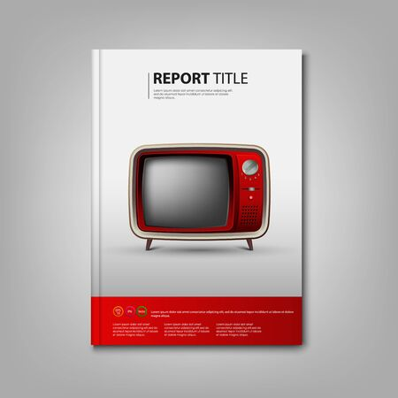 Brochures book or flyer with red retro television template vector eps 10