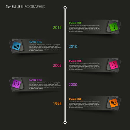time line: Time line info graphic with colored pointer on black background vector eps 10 Illustration