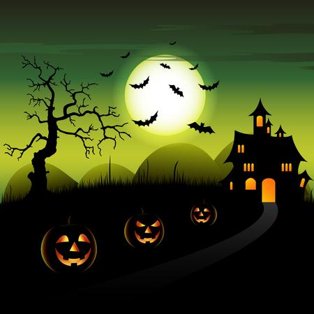 Halloween night green backdrop with castle and pumpkins vector eps 10 Ilustração