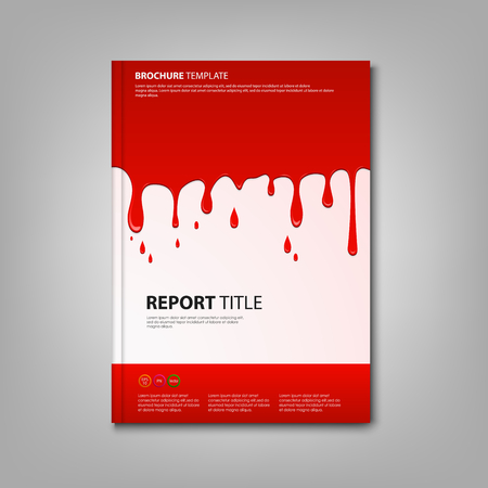 atypical: Brochures book or flyer with spilled red color template vector eps 10