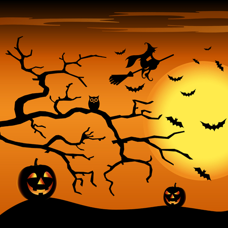 Halloween night orange background with witch and pumpkins vector eps 10