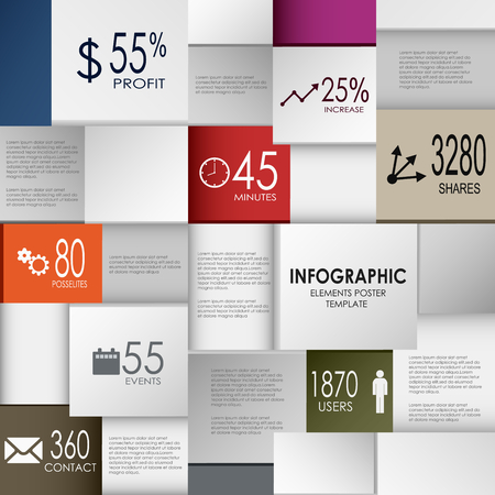 atypical: Abstract info graphic square element poster template