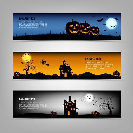 the night: Halloween night banners template