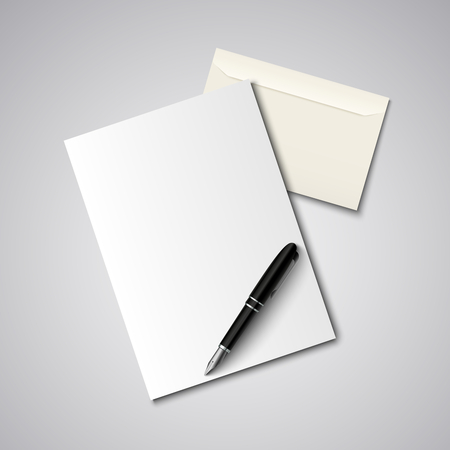 pen and paper: Envelope with paper and pen template vector eps 10