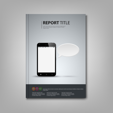 atypical: Brochures book or flyer with smart phone template vector eps 10