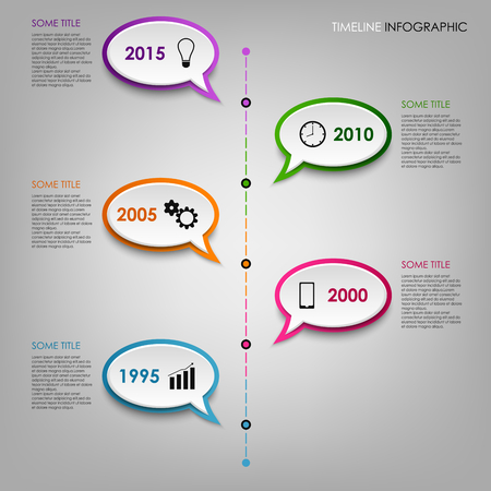 time line: Time line info graphic with colorful dialogs bubbles template vector