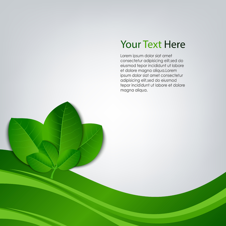 atypical: Eco background with green leaves template vector eps 10