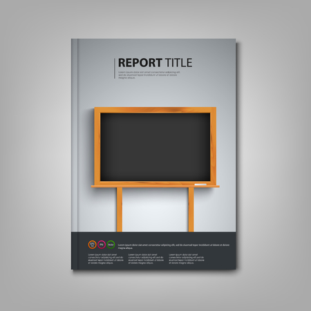 atypical: Brochures book or flyer with black board in the background template vector eps 10 Illustration