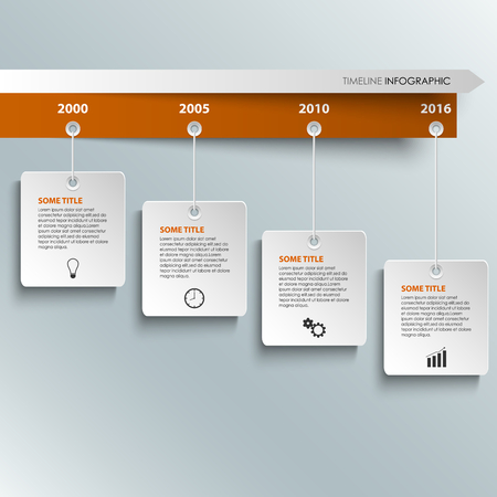 time line: Time line info graphic with hanging white labels template vector  Illustration