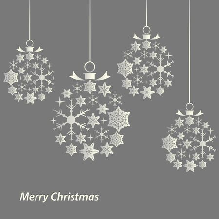 Christmas card with balls of snowflakes template vector eps 10