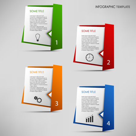 atypical: Info graphic with colored folded paper pointers template vector eps 10