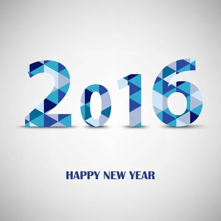 atypical: New Year card with blue triangular pattern template vector eps 10
