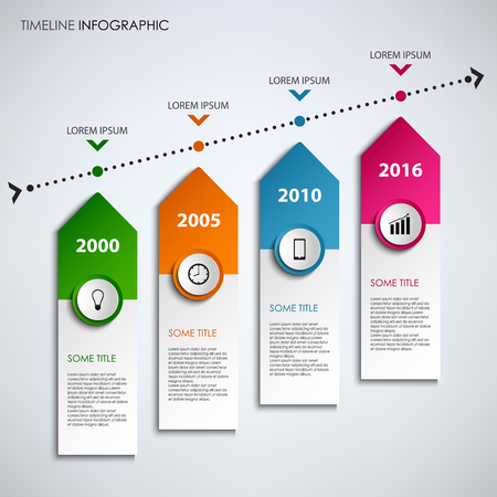 time line: Time line info graphic with colored design arrows template vector eps 10