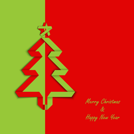 design layout: Christmas card with folded green red paper tree template vector eps 10 Illustration
