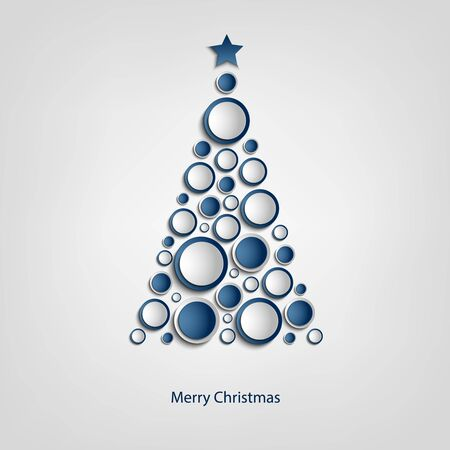 circulos azules: Christmas card with tree of blue circles template vector