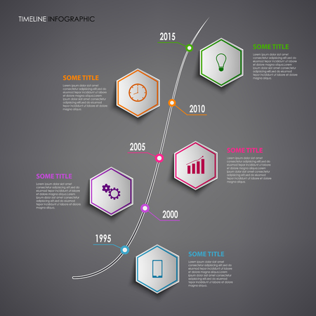 time line: Time line info graphic with colorful hexagons template vector