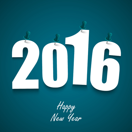 wishes: Blue New Year wishes with pins template vector