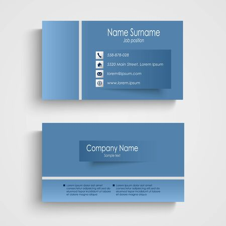 atypical: Modern blue business card with sticker template vector