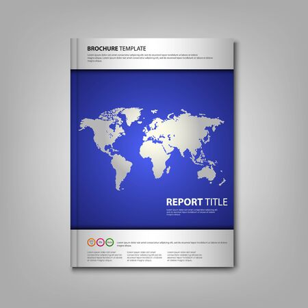 wold: Brochures book or flyer with wold map template vector Illustration