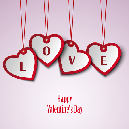 atypical: Valentine card with hanging hearts template vector eps 10