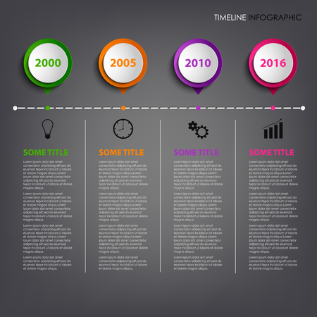 time line: Time line info graphic with colored circular pointers template vector eps 10 Illustration