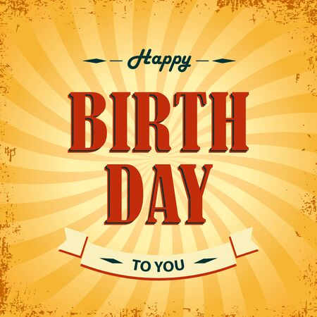 birthday wishes: Birthday wishes as retro poster template vector eps 10