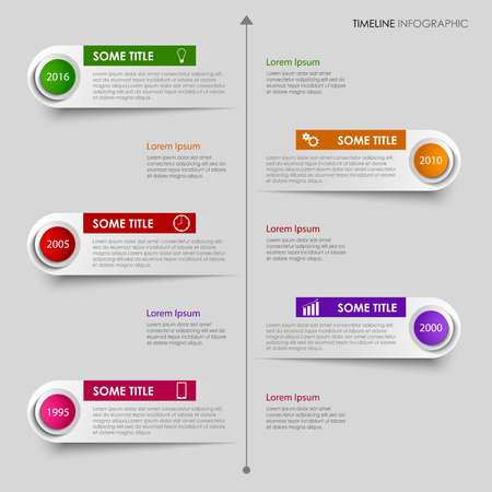time line: Time line info graphic with colorful labels design template vector eps 10