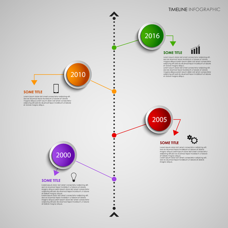 time line: Time line info graphic with colored design round pointers template vector eps 10